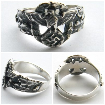german eagle swastika silver ring