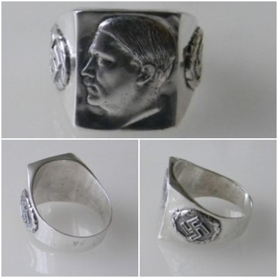 Adolf Hitler face swastika german nazi silver ring
