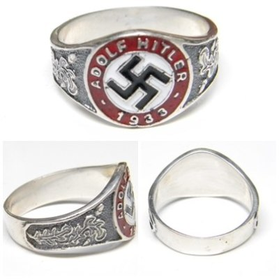 Adolf Hitler 1933 swastika german silver ring