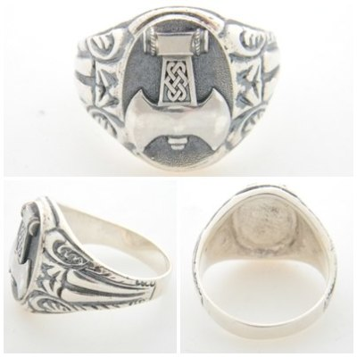 Mjölnir War Axe of Perun silver ring