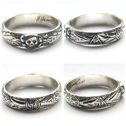 Replica Totenkopfring himmler ww2 german silver ring
