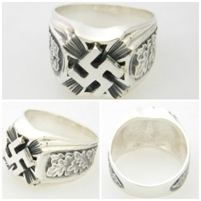 swastika oak leaf german nazi silver ring