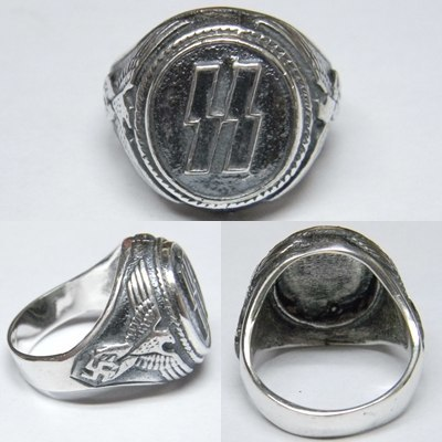 SS german eagle swastika silver ring
